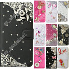 Magnetic PU Leather Flip Bling Diamond Card Wallet Case Cover For Samsung Galaxy