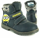 Boys Despicable Me Minions Pike Boots Twin Bar Work boot Shoe Sizes 8-2