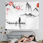 Japanese ink Man boat Wall Hanging Tapestry Home Room Bedspread Decoration