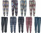 NEW WOMENS ALI BABA HAREM CUFFED BOTTOM PANTS TROUSERS IN ASSOCIATED DESIGNS
