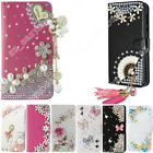 Flip Rhinestone Phone Case Card Slot Bling Crystal Leather Wallet Stand Cover