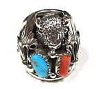 Sleeping Beauty Turquoise & Coral 925 Silver Southwestern Men's Ring sz 10 -14