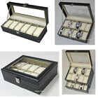 6, 10 12 20 Slots Leather Watch Box Display Glass Top Jewelry Case Organizer image