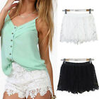 Women Girls Lace Sheer Crochet Elastic High Waist Hot Pants Beach Mini Shorts