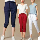 Cotton Linen Ladies Crop Pants Women Cropped Capri Trousers Shorts Plus Size