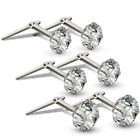 STERLING SILVER ANDRALOK STUDS WHITE CUBIC ZIRCONIA ROUND EARRINGS 3 3.5 5MM BOX