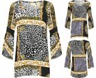 Womens Baroque Scarf Print Flared Sleeve Top Ladies Baggy Bell Crepe Blouse
