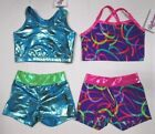 New Girls Crop Top Shorts Set Size 4 XS SC Child Dance Gymnastics Cheer 4 Choice