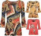 Womens Floral Baroque Scarf Print Bell Sleeve Top Ladies Long Flared Blouse