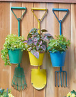 Metal Wall Mount Planter Hanging Garden Backyard Tool Rustic Rake Shovel Fork