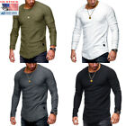 Men Clothes Long Sleeve Slim Fit O-Neck Muscle Tee T-shirt Casual Tops Blouse US image
