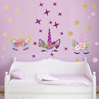 Creative Unicorn Stars Wall Stickers For Girls Bedroom Flowers Wall Decals