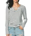 BLUETIME Womens Casual V Neck Lace Up Long Sleeve Striped T-Shirt Top