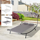 Outdoor  Double Chaise Lounge Patio Hammock Sunbed Lounger w/ 2 Wheels