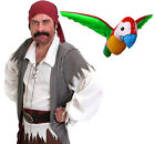 MENS CARIBBEAN PIRATE COSTUME AND PARROT CAPTAIN FANCY DRESS COSTUME OUTFIT