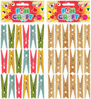 Pack of Children's Craft Mini WOODEN PEGS Choose! COLOURED or NATURAL WOOD 50mm