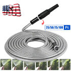 25 50 75 100FT Expandable Light Garden Water Hose Pipe w/ Nozzle Stainless Steel