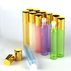 New 5-50pcs 10ml Glass Roll On Bottles Glass Roller Ball Gold Cap Essential Oils