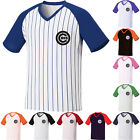 New Chicago Cubs Stripe Baseball Raglan T-Shirts Tee Jersey Dry Cool Shirt 0098