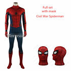 Superhero Civil War Spiderman Costume 3D Printed Spandex Bodysuit Fullface Mask