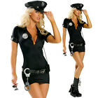 Sexy Black Officer Cop Costume Policewomen Fancy Dress Outfit S-3XL