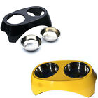 """5"""" Elevated Raised Stainless Steel Double Bowl Food Water Feeder Pet Dish Diner"""
