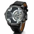 Mens Watches Dual Time Zone Leather Strap Big Face Military Quartz Sports Watch