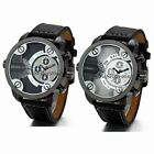 Mens Watches Dual Time Zone Leather Strap Big Face Military Quartz Sports Watch image