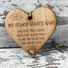 Grandparents Gift Wall Plaque Grandma Nan Rustic Wood Hanging Heart Shabby Chic