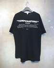 Mens Cutting Unbalanced OFF Temperature Print Short Sleeve T-Shirts Black White