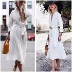 NWT ZARA SS18 OFF-WHITE LINEN DRESS WITH BELT V-NECK A-LINE 4437/072 _XS-XXL