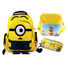 "16"" New Despicable Me Minion Backpack Boys Back to School Lunch Bag Pencil Case"