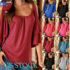 Womens Cold Shoulder Blouse Half Sleeve Tee Round Neck Loose