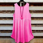 Womens Sleeveless Blouses Empire Waist Vest Swing Tank Tops Casual Solid T Shirt