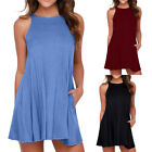 Women's Brief Casual O-Neck Swing Sleeveless Pocket T-Shirt Camis Dress Sundress