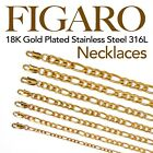 18k Gold Plated Stainless Steel 316l Figaro Chain Necklace Men Women 14in   48in