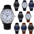 Fashion Casual Men's Watch Stainless Steel Leather Strap Watch image