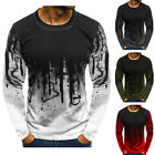 Mens Fashion Round Neck T-shirt Long Sleeve Casual Tee Slim Fit Shirts Tops US image