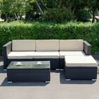 5pcs Garden Outdoor Rattan Wicker Sofa Couch With Cushion Furniture Set 2 Colors