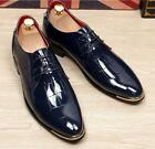 New Mens Pointed Toe Low Top Patent Leather Lace Up Wedding Party Formal Shoes