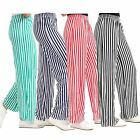 New Women High Waist Casual Stripe Print Flared Wide Leg Palazzo Trousers 8-26