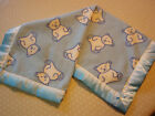 Baby Bedding-White BEAR on Blue Fleece Blanket with Matching Satin Binding Edge