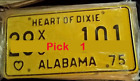 License Plate Alabama 1975 Heart of Dixie Vintage Antique Classic Decor YELLOW