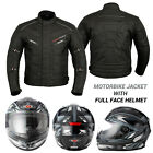 Motorcycle Motorbike Mens Jacket Waterproof Textile CE Armoured Full Face Helmet