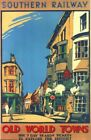 Vintage Southern Rail Old World Towns Railway Poster A4/A3/A2/A1 Print