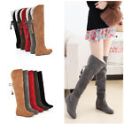 Winter Womens Warm Over the Knee Thigh High Lace Up Long Boots Flat Heels Shoes