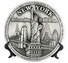 "Decorative Metal Plate New York City Skyline Statue Liberty Silver Bronze 8"" New"
