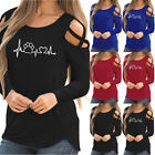 Women Casual Long Sleeve Crisscross Strappy Solid Cold Shoulder Shirt Top Blouse