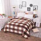 Coral Fleece Blankets On The Bed Soft Plaid Autumn Warm Wint