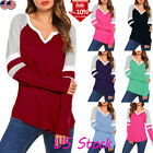 Womens V-Neck T-Shirt Long Sleeve Loose Casual Tops Short Blouse Pullover Tee US